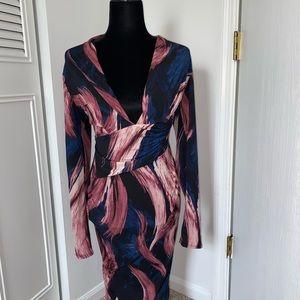 Mauve/Navy Midi Dress. Plunge dress never worn